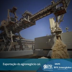 Exportação do agronegócio cai.